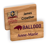Personalised Real Wood Name Badges, full colour logo, laser engraved personalisation