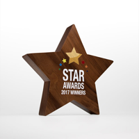 Real Wood Block Award, wood only, complex standard shapes 120mm height