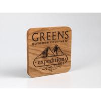 Oak Faced Ply Coasters, Standard Shape, cork backed