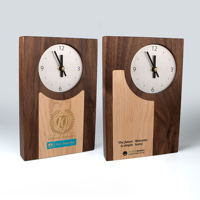 Real Wood Clocks with Contrasting Wood Inlays
