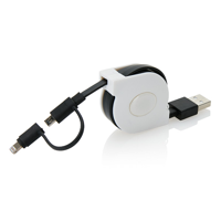 Retractable 2 in 1 cable, black/white