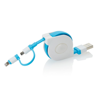 Retractable 2 in 1 cable, blue/white