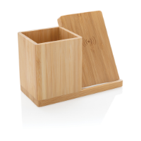 Calgary bamboo 5W wireless charger with pen holder