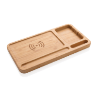 Bamboo desk organiser 5W wireless charger
