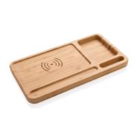 Bamboo desk organiser 5W wireless charger