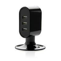 3 port USB desk charger, black