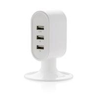 3 port USB desk charger, white