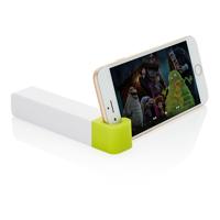 2.200 mAh powerbank with phone stand, green/white