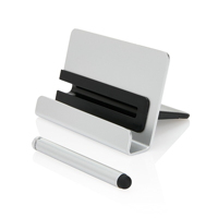 Aluminium phone stand with touch pen, silver