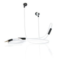 Flat wire earbuds with mic, white/black