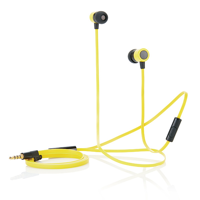 Flat wire earbuds with mic, yellow/black