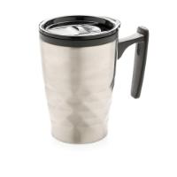 Geometric coffee tumbler, silver