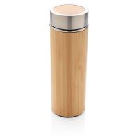Leak proof bamboo vacuum bottle