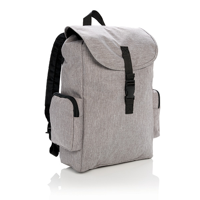 """15"""" Laptop backpack with buckle, grey"""