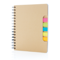 A5 Kraft spiral notebook with sticky notes