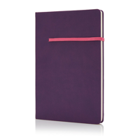 A5 notebook with horizontal band, purple/pink