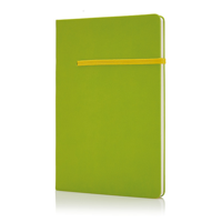 A5 notebook with horizontal band, green/yellow