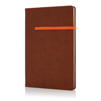A5 notebook with horizontal band, brown/yellow