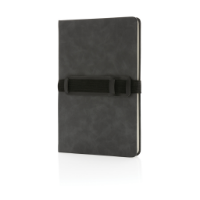 Deluxe hardcover PU notebook A5 with phone and pen holder