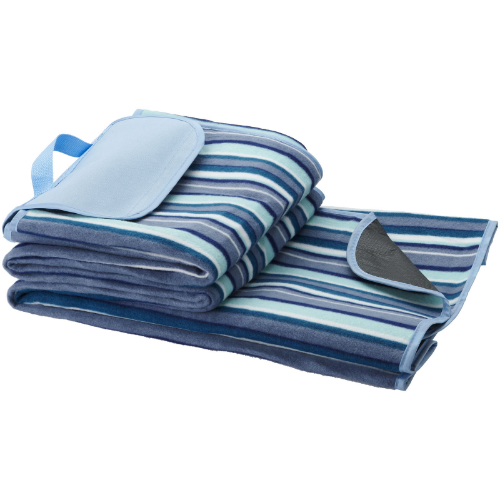 Riviera water-resistant picnic outdoor blanket in white-solid-and-blue