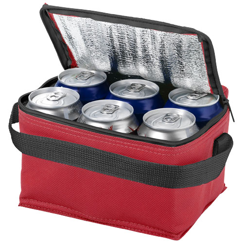 Spectrum 6-can non-woven cooler bag in red