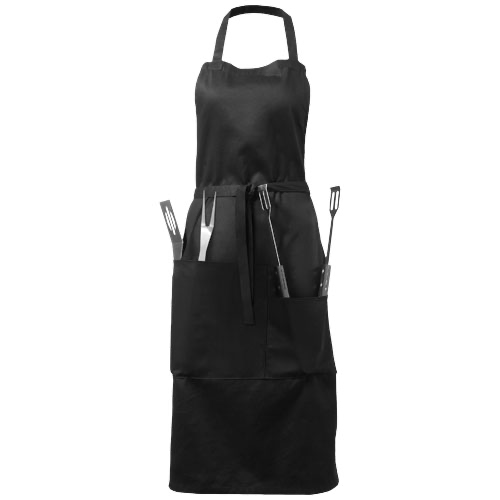 Bear BBQ apron with utensils and glove in black-solid