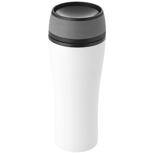 Curve 400 ml leak-proof insulated tumbler in white-solid-and-grey