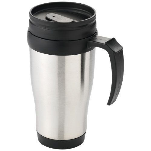 Sanibel 400 ml insulated mug in silver-and-black-solid