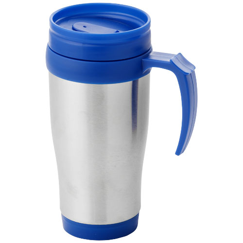 Sanibel 400 ml insulated mug in silver-and-blue