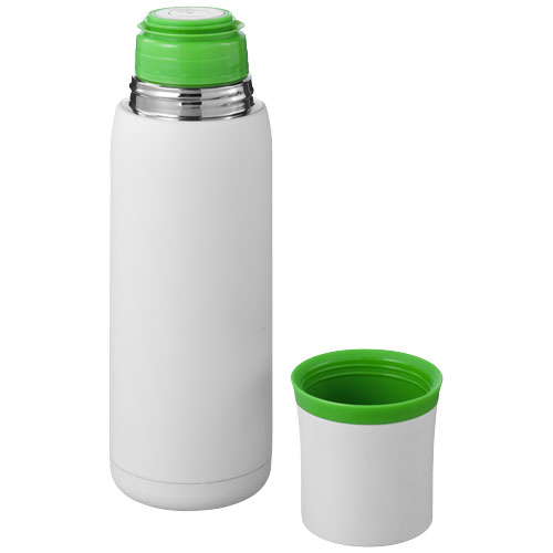 Flow vacuum insulated flask in white-solid-and-green