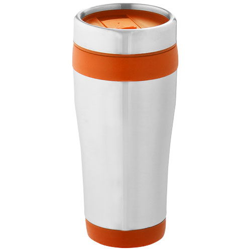 Elwood 410 ml insulated tumbler in silver-and-orange
