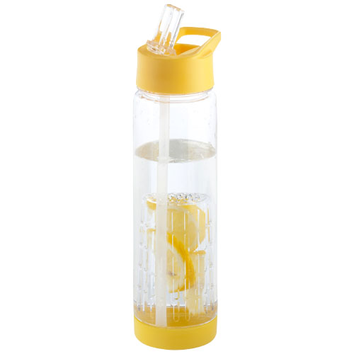 Tutti frutti bottle with infuser in yellow-and-transparent