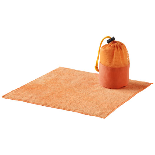 Diamond car cleaning towel and pouch in orange