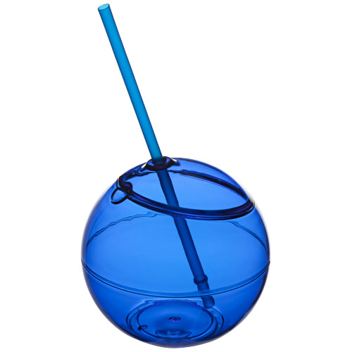 Fiesta 580 ml beverage ball with straw in transparent-clear