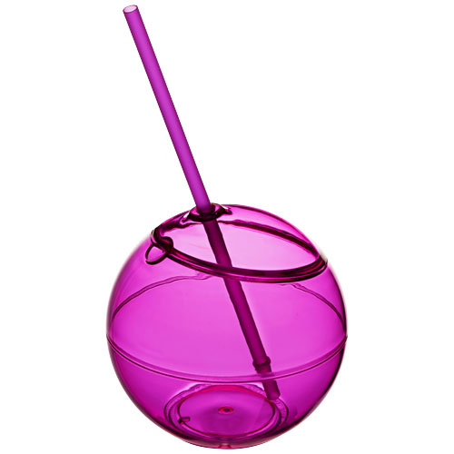 Fiesta 580 ml beverage ball with straw in pink