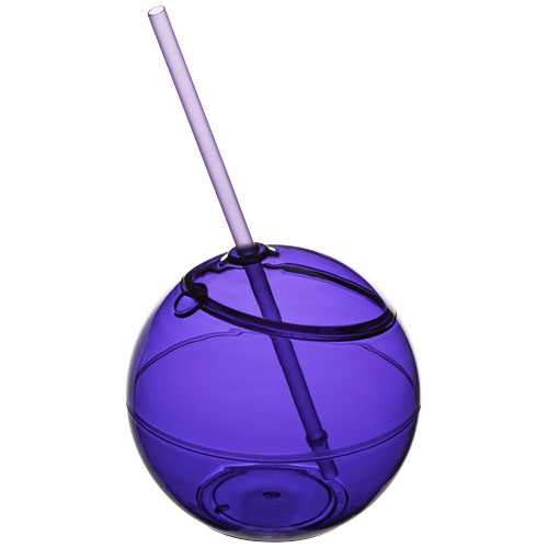 Fiesta 580 ml beverage ball with straw in purple