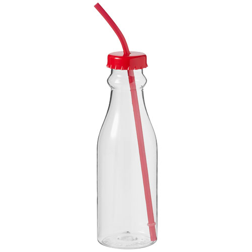 Soda bottle in transparent-and-red