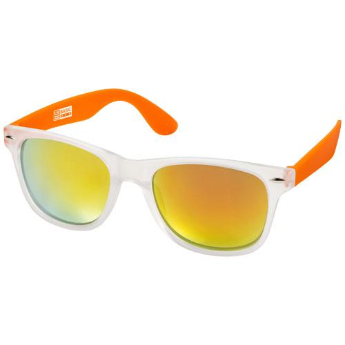 California exclusively designed sunglasses in orange-and-transparent