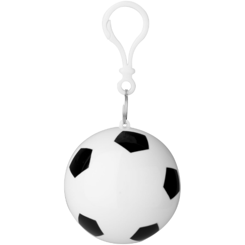 Xina rain poncho in storage football with keychain in white-solid-and-black-solid