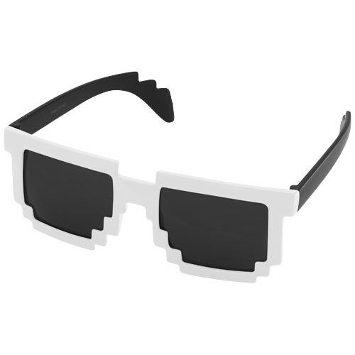 Pixel Sunglasses in black-solid-and-white-solid