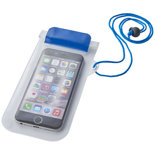 Mambo waterproof smartphone storage pouch in blue-and-transparent