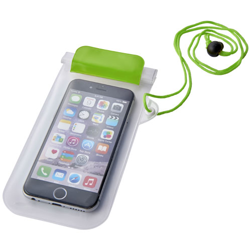 Mambo waterproof smartphone storage pouch in green-and-transparent