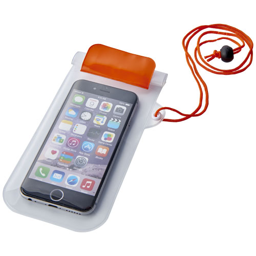 Mambo waterproof smartphone storage pouch in orange-and-transparent