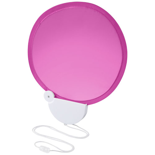Breeze foldable hand fan with cord in magenta-and-white-solid