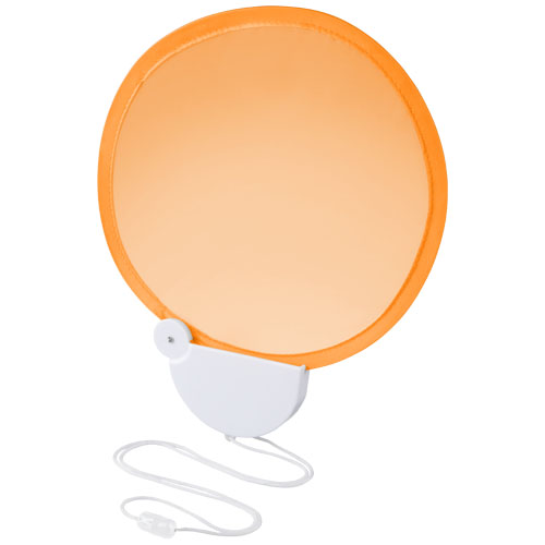 Breeze foldable hand fan with cord in orange-and-white-solid