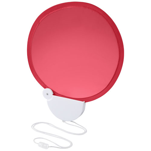 Breeze foldable hand fan with cord in red-and-white-solid