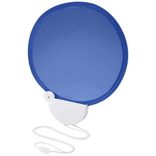 Breeze foldable hand fan with cord in royal-blue-and-white-solid