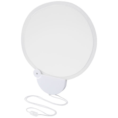 Breeze foldable hand fan with cord in white-solid