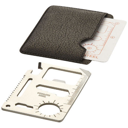 Saki 15-function pocket tool card in silver-and-black-solid