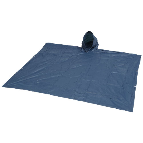 Adjustable rain poncho with pouch in navy